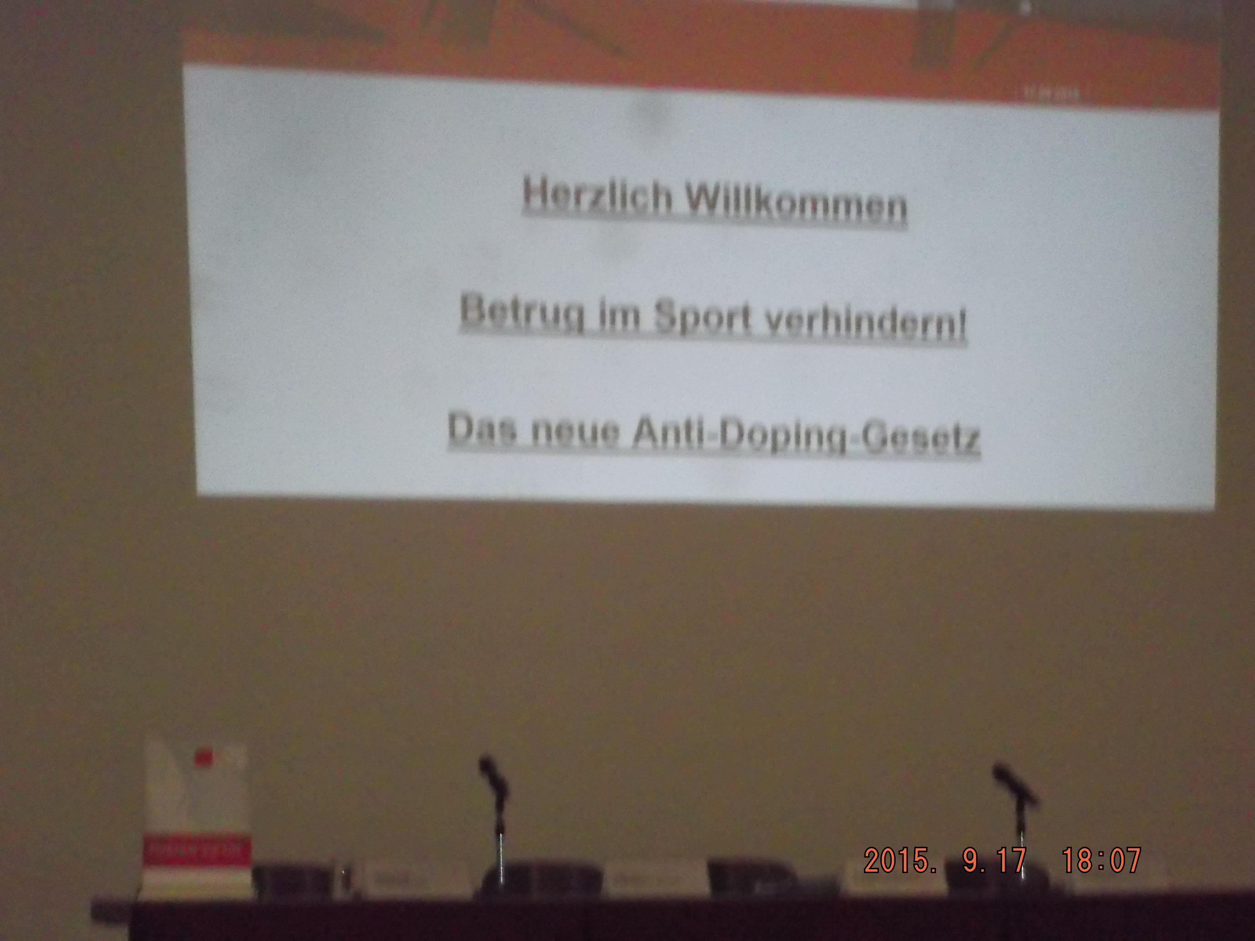 Betrug im Sport verhindern, Doping- Gesetz
